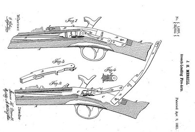 32,032 - Improvement in Breech-Loading Firearms, assigned to the Merrill Patent Firearms Mfg Co (April 9, 1861)