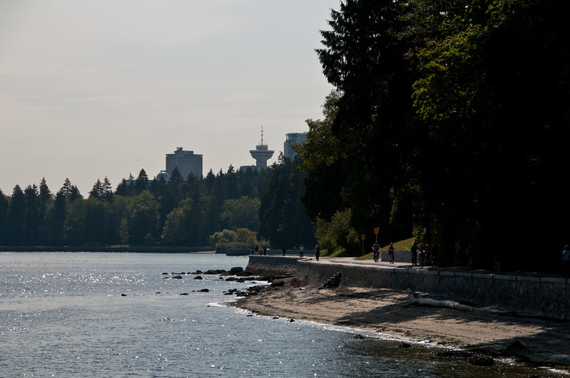 Stanley Park shore with some of Vancouver in the background.
