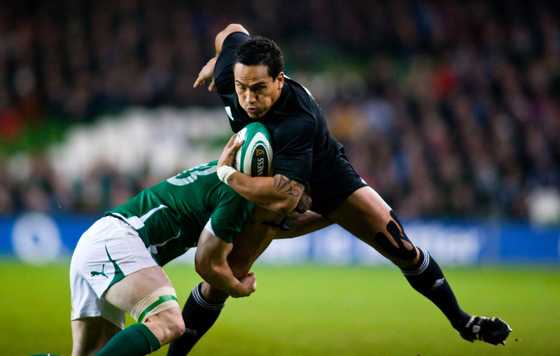 Hosea Gear is tackled by Brian O'Driscoll. During the International rugby test with Ireland against the New Zealand All Blacks at Aviva Stadium Dublin. November 2010