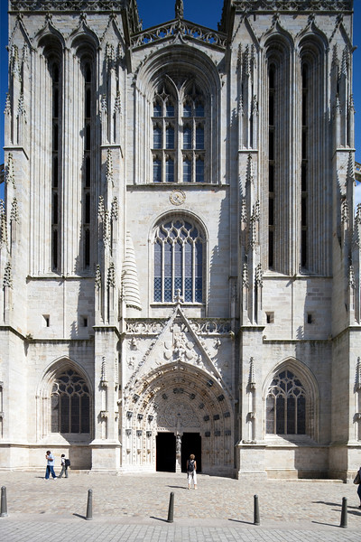 Facade of Sain Corentin Cathedral, town of Quimper, departament of Finistere, region of Brittany, France