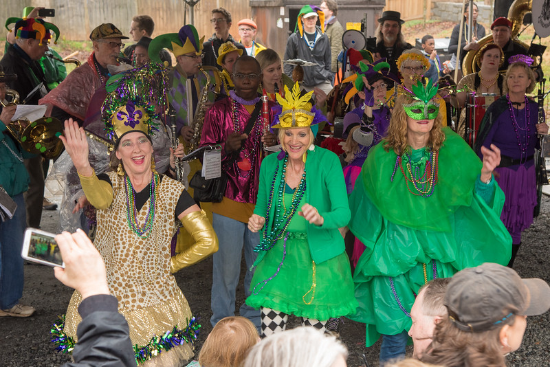 Feed and Seed Marching Abominable dance girls light up the party held at the end of the 2018 Mead Rd. Mardi Gras parade at The Imperial Restaurant