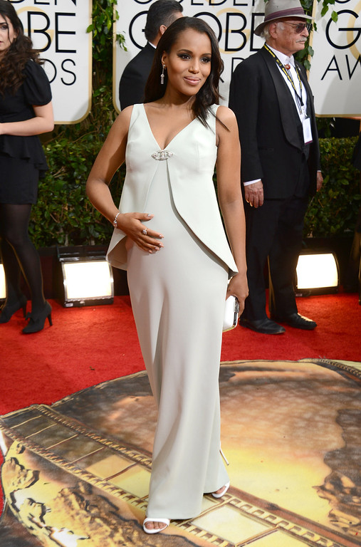 . Kerry Washington arrives at the 71st annual Golden Globe Awards at the Beverly Hilton Hotel on Sunday, Jan. 12, 2014, in Beverly Hills, Calif. (Photo by Jordan Strauss/Invision/AP)