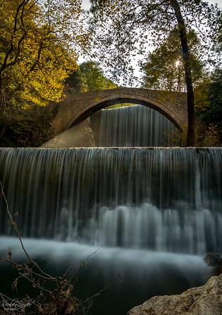 The arch bridge waterfall of Paleokaria