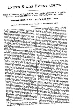 32033 - Improvement in Breech-Loading Firearms, assigned to the Merrill Patent Firearms Mfg Co (March 26, 1861)