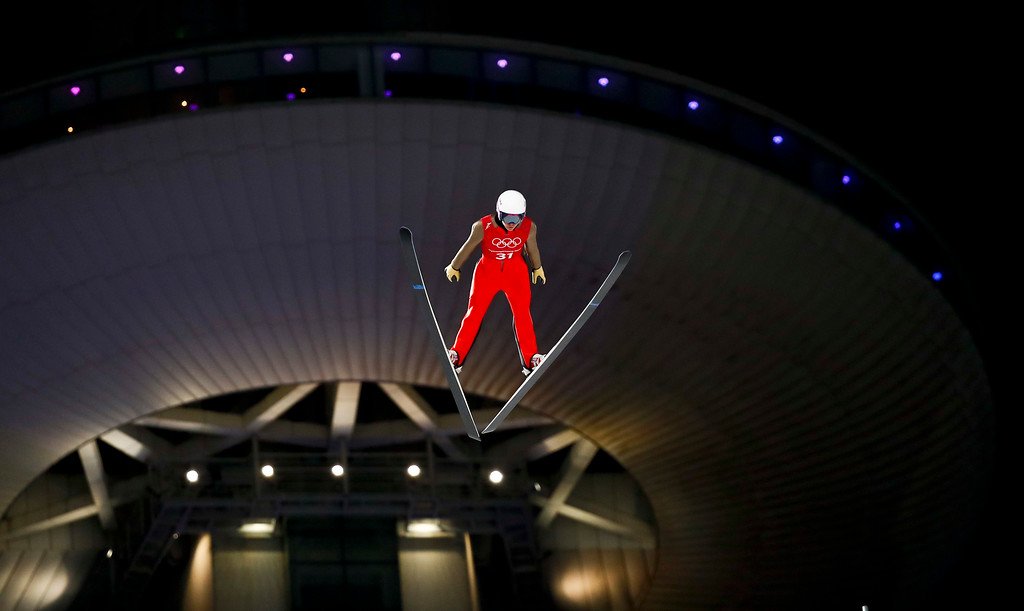 . Irina Avvakumova, of the team from Russia, soars through the air during training for the women\'s normal hill individual ski jumping competition at the 2018 Winter Olympics in Pyeongchang, South Korea, Sunday, Feb. 11, 2018. (AP Photo/Matthias Schrader)