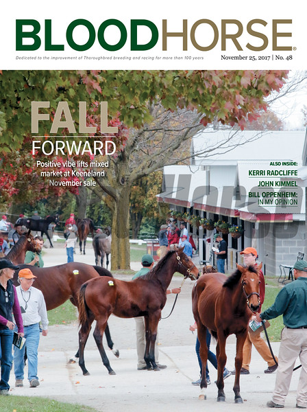 November 25, 2017 issue 48 cover of BloodHorse featuring Fall Forward as Positive vibe lifts mixed market at Keeneland November sale, Kerri Radcliffe, John Kimmel, Bill Oppenheim: In My Opionion.