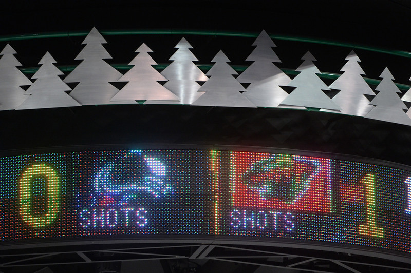 . The Minnesota Wild left a reminder of game 3 on the scoreboard for the Avs to see during practice Wedensday afternoon. The Minnesota Wild defeated the Colorado Avalanche 1-0 in overtime at the Xcel Energy Center in St. Paul Monday night, April 21, 2014. (Photo by Karl Gehring/The Denver Post)