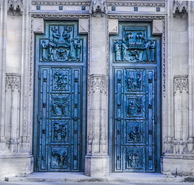 The huge bronze front doors at St. Vitus Cathedral are original and were hung in place in the year 1370. They are 5 meters high including transoms. Imagine what Prague was like when they were new..