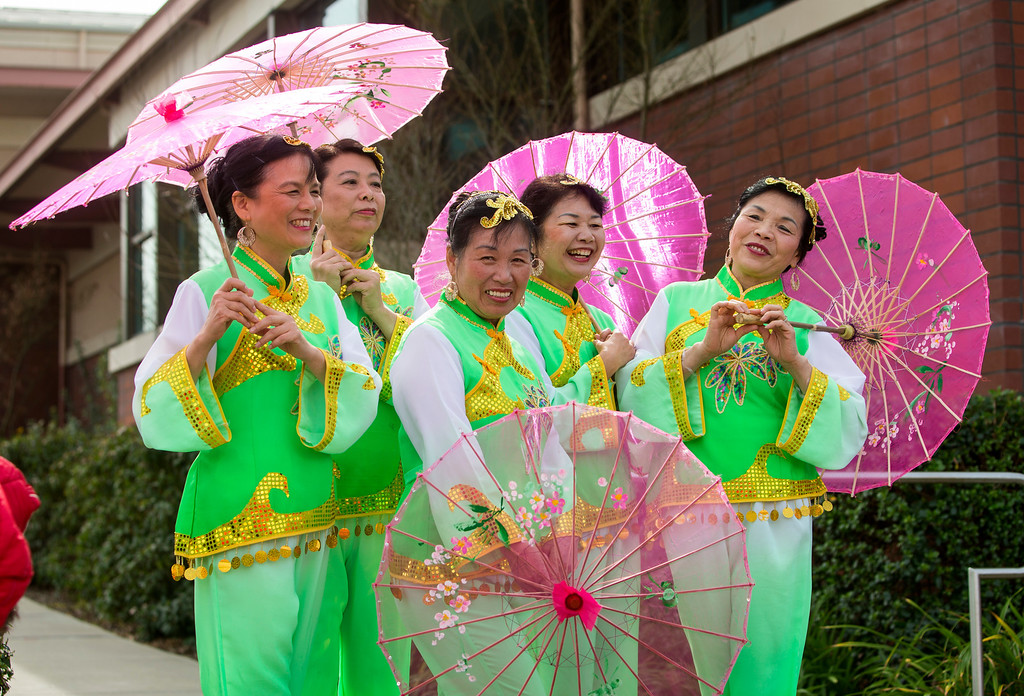 . Members of the Hai Yan Jackson Dance Company wait to perform at the Lunar New Year Festival in Millbrae, Calif. on Saturday, Feb. 16, 2013. Festivities included a street festival, table tennis tournament and dance performances. (John Green/Staff)