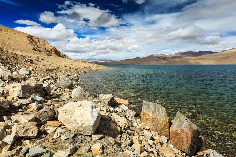 Tso Moriri lake in Himalayas, Ladakh