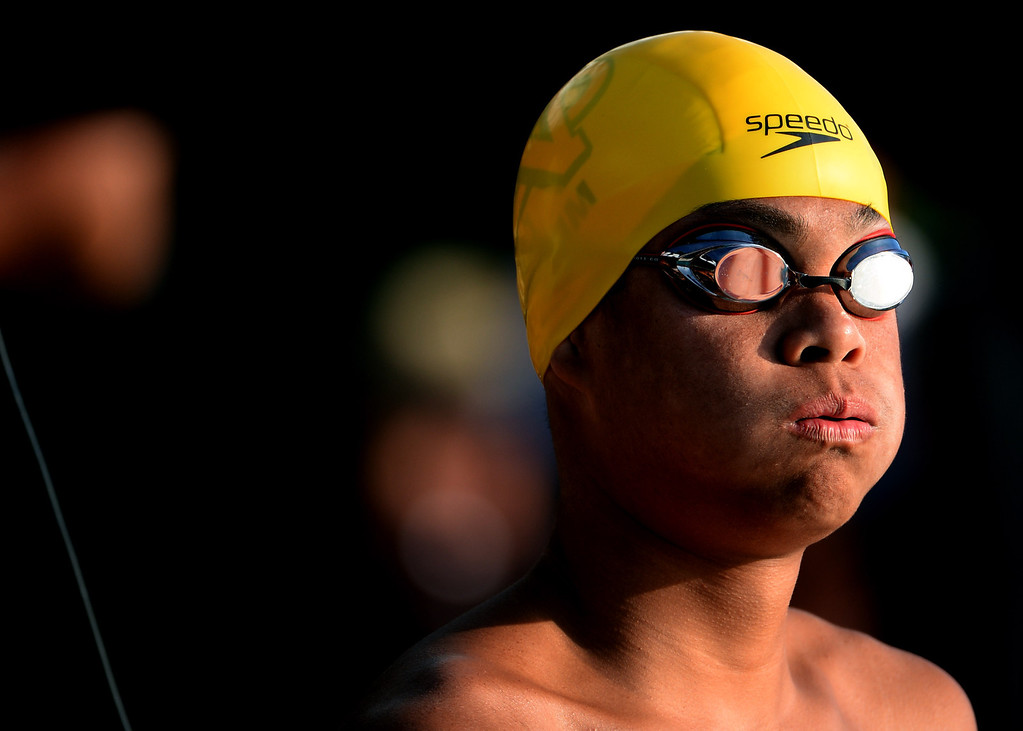 . Notre Dame\'s (Riverside) Roman Sarmiento prepares for the 100 yard freestyle during the Division 4 CIF Southern Section Swimming Championships in the Riverside Aquatics Complex at Riverside City College in Riverside, Calif., on Friday, May 16, 2014.  (Keith Birmingham/Pasadena Star-News)