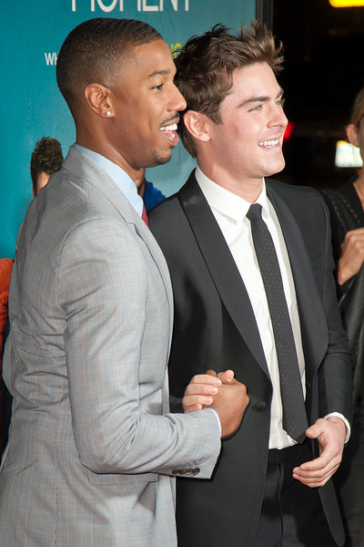 LOS ANGELES, CA - JANUARY 27: Actors Michael B. Jordan and Zac Efron arrive at the premiere of Focus Features' 'That Awkward Moment' at Regal Cinemas L.A. Live on January 27, 2014 in Los Angeles, California. (Photo by Tom Sorensen/Moovieboy Pictures)