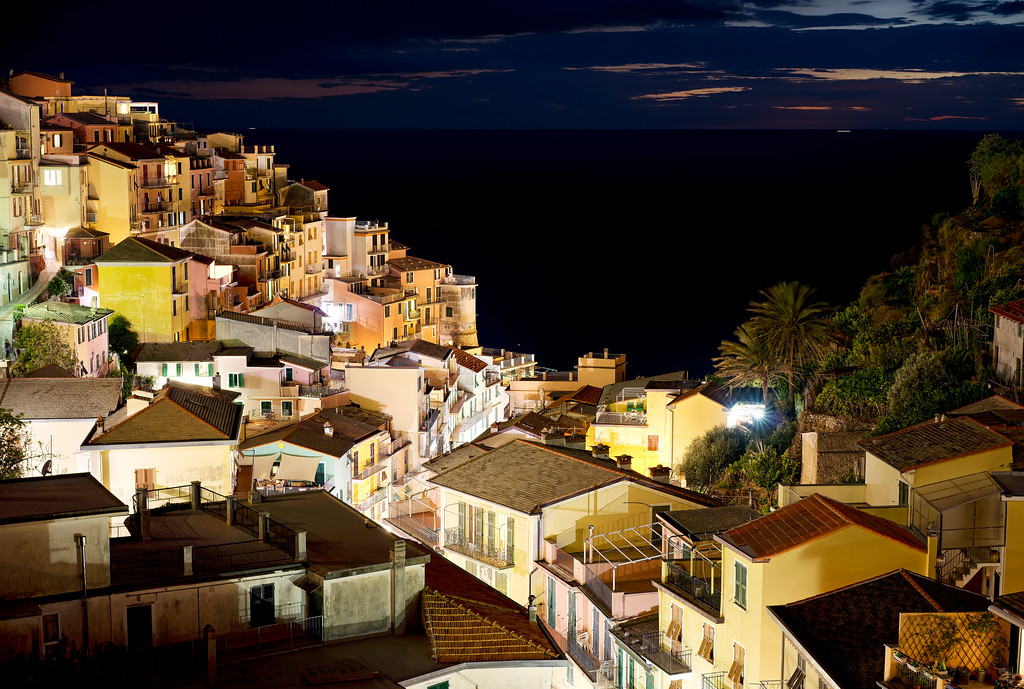 view of manarola from the hill at night