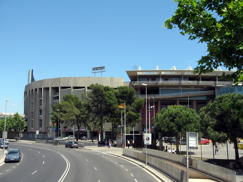 Camp Nou soccer stadium, the largest soccer stadium in Europe (capacity 98,787) and home of the Futbol Club Barcelona
