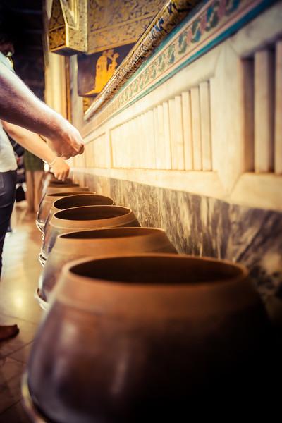 Thai Buddhist Temple Offering Pots