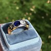 1.55ctw Old Mine Cut and Sapphire Gypsy Ring, GIA 21