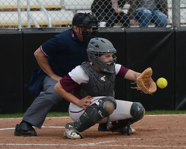Chico State's Kristin Worley catches the ball, Friday, March 9, 2018, in Chico, California. (Carin Dorghalli -- Enterprise-Record)