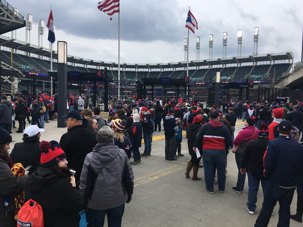 . Lines of fans wait to enter Progressive Field at the home opener on April 6. David S. Glasier, The News-Herald