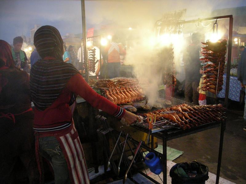 in a night market in Koto Kinabalu