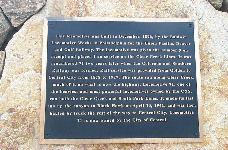 Locomotive 71 plaque