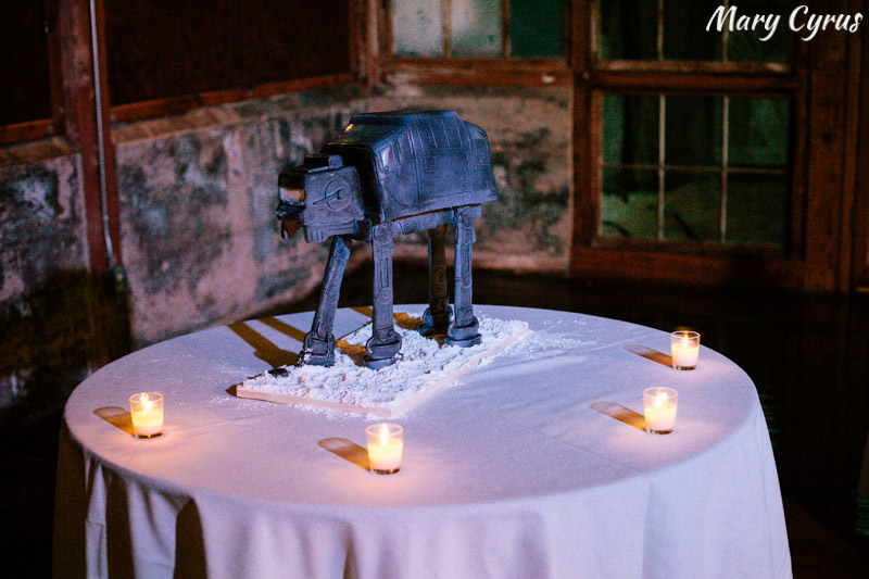 An AT-AT Imperial Walker groom's cake at the McKinney Cotton Mill. Also known as the best cake EVER. | Photo by Mary Cyrus Photography - Weddings & Portraits in Dallas & Beyond
