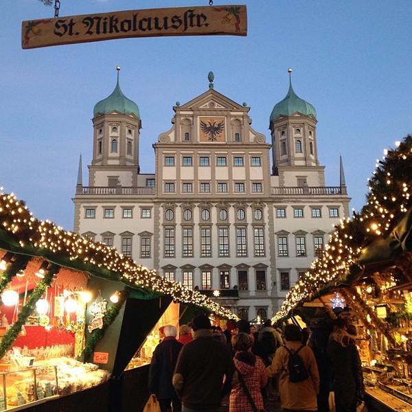 Augsburg Christmas Market at twilight - Bavaria, Germany