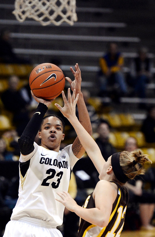 . Colorado\'s Chucky Jeffery (23) shoots over Wyoming\'s Fallon Lewis during their NCAA college basketball game, Wednesday, Nov. 28, 2012, in Boulder, Colo. (AP Photo/The Daily Camera, Jeremy Papasso)