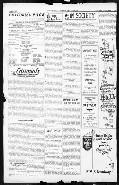 Daily Trojan, Vol. 16, No. 50, February 17, 1925