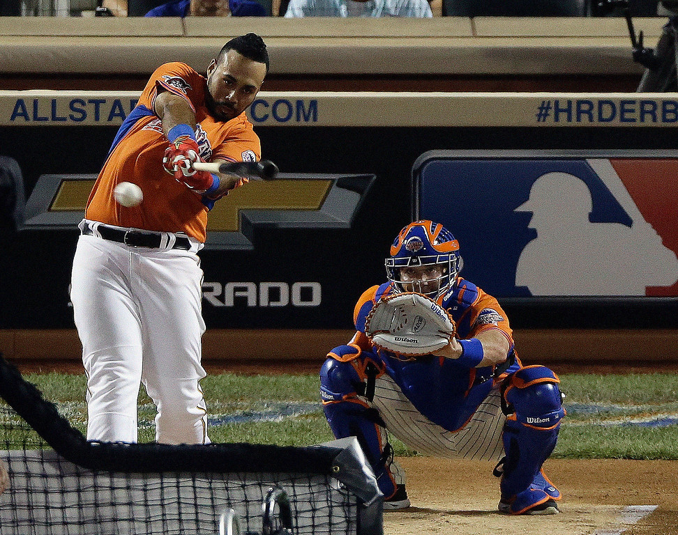. National Leagueís Pedro Alvarez, of the Pittsburgh Pirates, hits during the MLB All-Star baseball Home Run Derby, Monday, July 15, 2013, in New York. (AP Photo/Frank Franklin II)