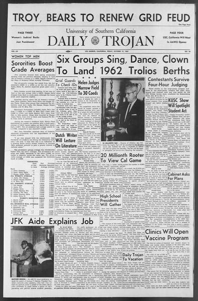 Daily Trojan, Vol. 54, No. 20, October 19, 1962