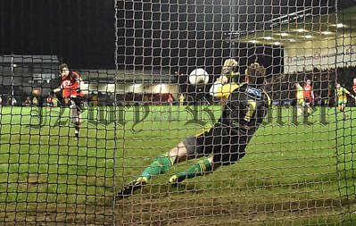 Donegal keeper Peter Boyle gets across to save Donal O'Hare's first half penalty. RS1605107