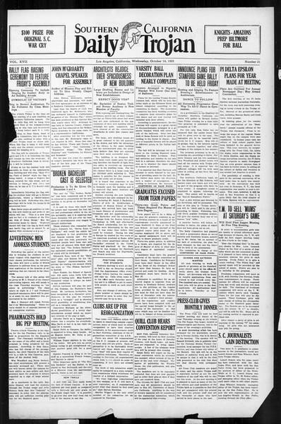 Daily Trojan, Vol. 17, No. 21, October 14, 1925