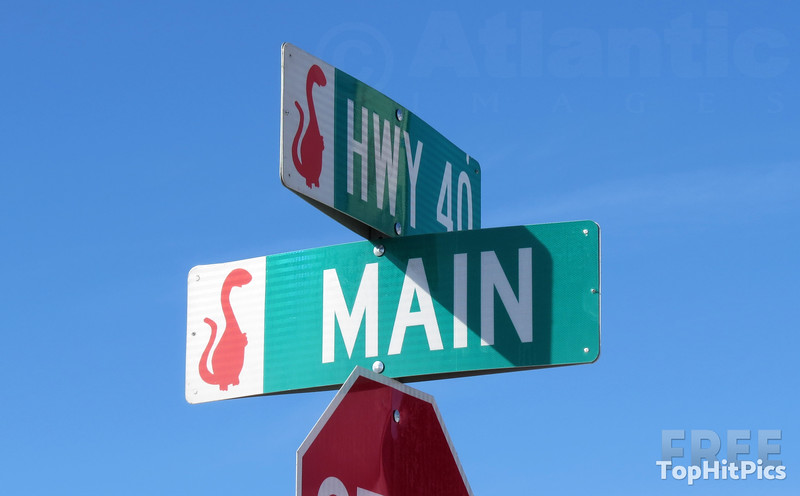 Dinosaur Street Signs in Vernal, Utah, USA