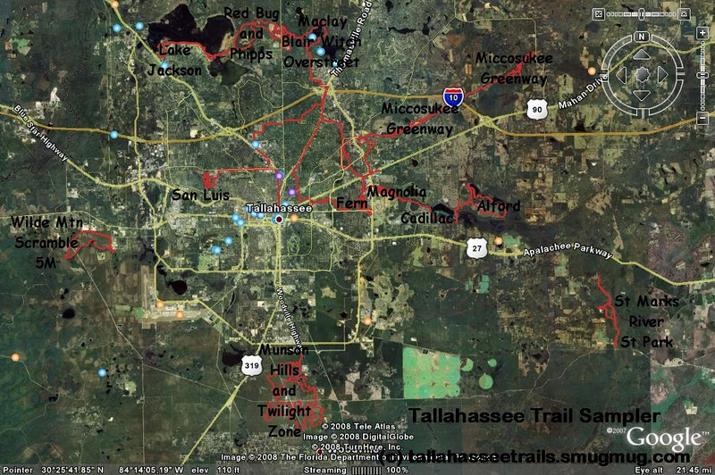 """A selection of Tallahassee area trails. Shows the relation of Fern Trail (center) to some other trails. Includes some """"commute"""" tracks."""