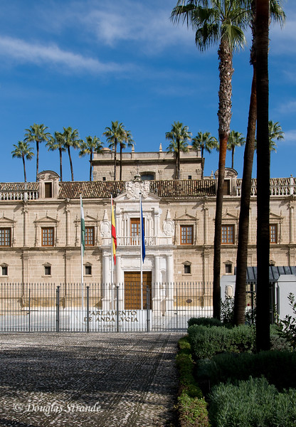 Tue 3/15 in Seville: Entrance to the Parliament of Andalusia building, a restored former hospital