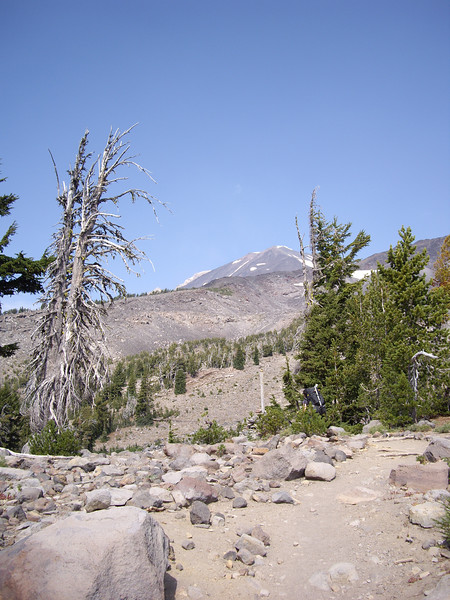 On the trail up to the campsite. You can see the false summit in the distance.