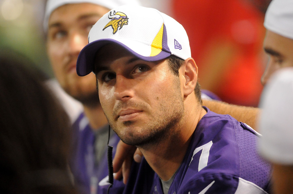 . Vikings quarterback Christian Ponder watches from the bench during the fourth quarter against Tennessee.  (Pioneer Press: Sherri LaRose-Chiglo)