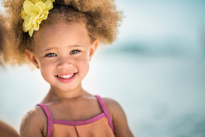 Portrait of a young girl on the beach.