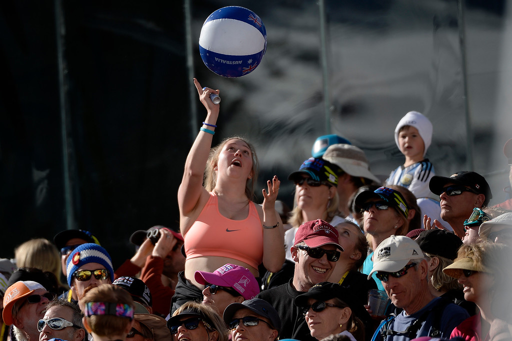 . Fans strip down and swat a beach ball through the stands during the ladies\' slalom. FIS Alpine World Ski Championships 2015 on Saturday, February 14, 2015. (Photo by AAron Ontiveroz/The Denver Post)