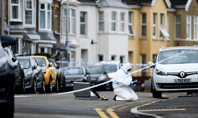 Llanelli, Sunday 30th June 2019 Police activity on Coleshill Terrace in Llanelli, after a 47-year-old man died from injuries after an incident on the road.