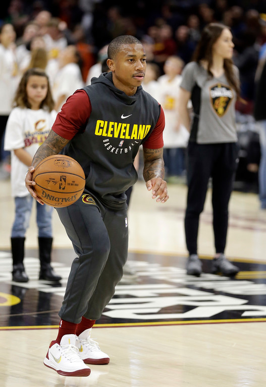 . Cleveland Cavaliers\' Isaiah Thomas warms up for the team\'s NBA basketball game against the Brooklyn Nets and the Cleveland Cavaliers, Wednesday, Nov. 22, 2017, in Cleveland. (AP Photo/Tony Dejak)