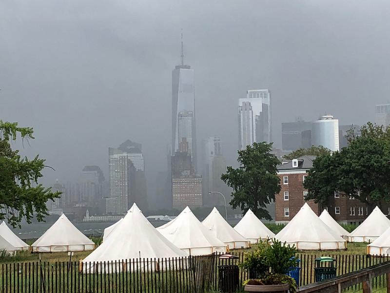 Rain obscures downtown Manhattan