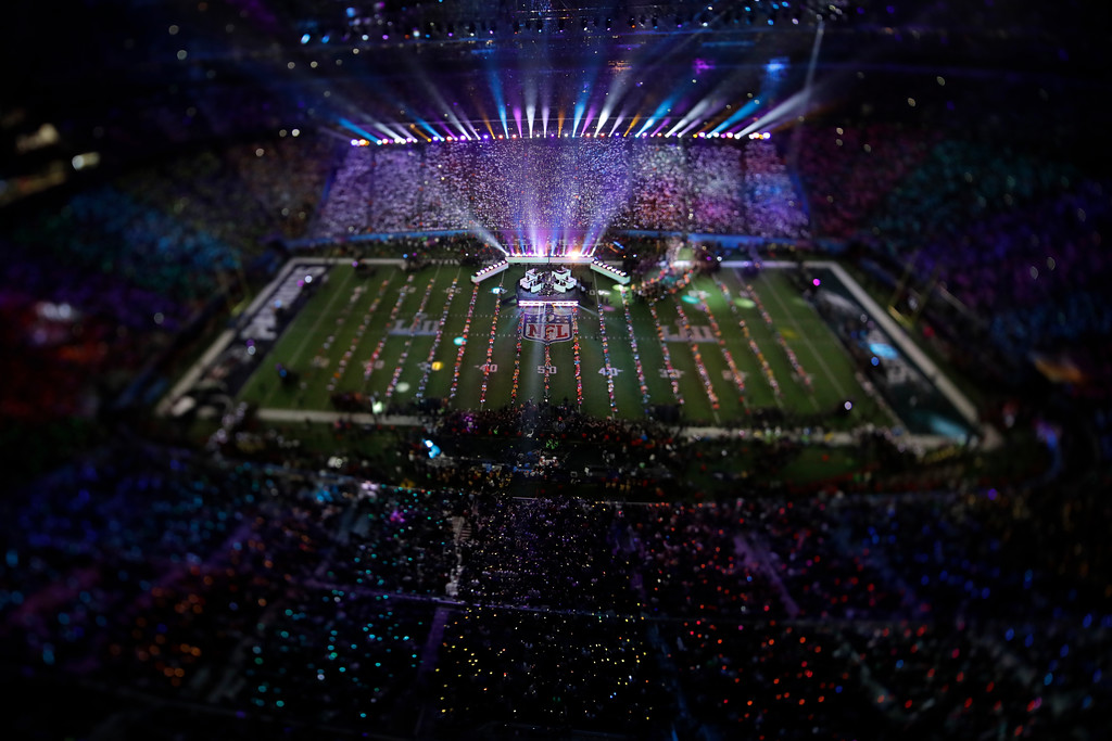 . In this picture made with a specialty lens Justin Timberlake performs during halftime of the NFL Super Bowl 52 football game Sunday, Feb. 4, 2018, in Minneapolis. (AP Photo/Morry Gash)