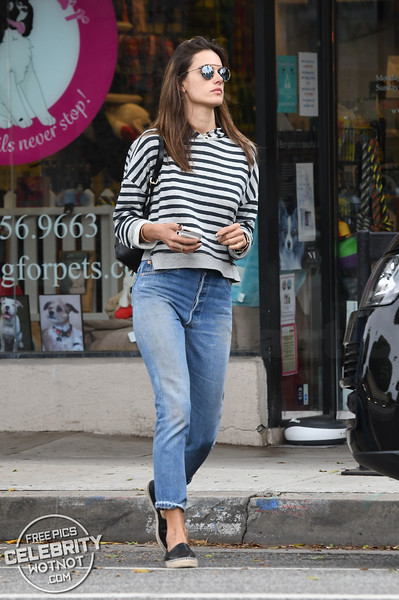Alessandra Ambrosio Steps Out In Stripes, Los Angeles