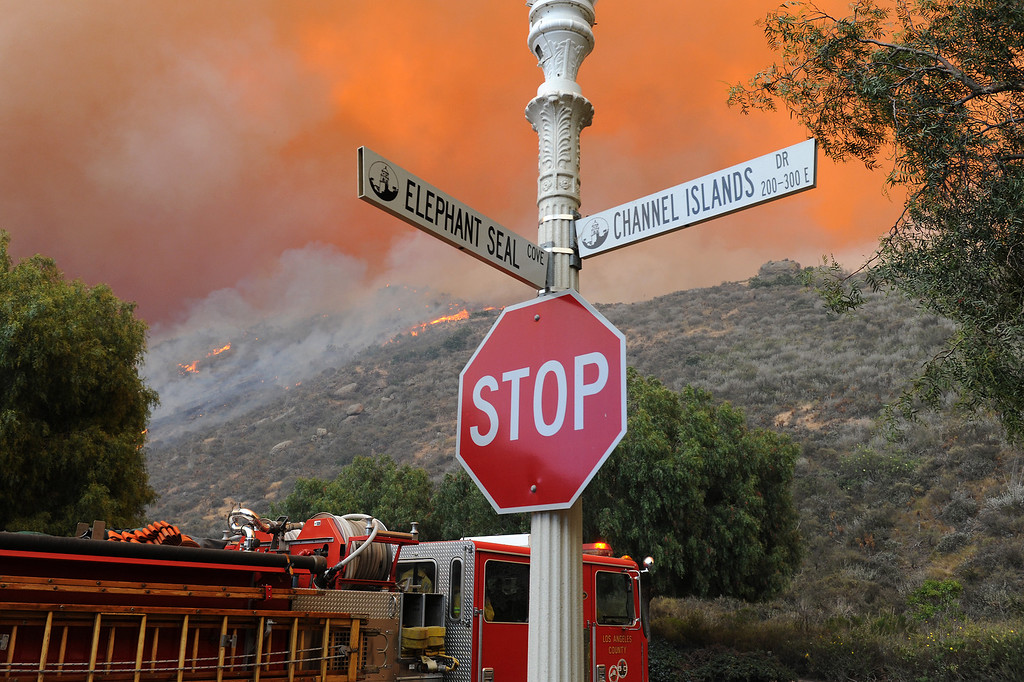 . Flames on the hills above Cal State University Channel Islands, Thursday, May 2, 2013. (Michael Owen Baker/Los Angeles Daily News)
