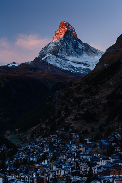 The Matterhorn and Zermatt at sunrise