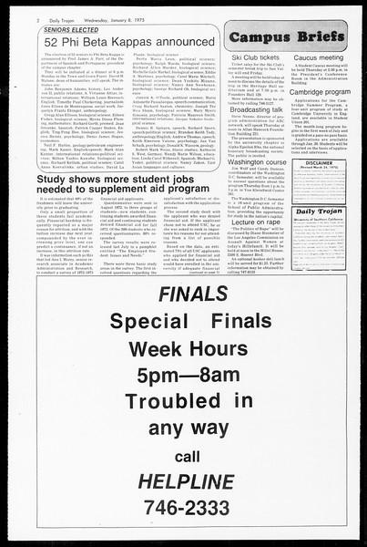 Daily Trojan, Vol. 67, No. 63, January 08, 1975