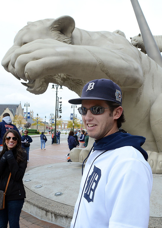 . Rob Riehl, of Novi, is hoping for a Tigers win over the Oakland A\'s as he prepares to go into Comerica Park for the start of Game 3 of the ALDS, Monday October 7, 2013. (Oakland Press Photo:Vaughn Gurganian)