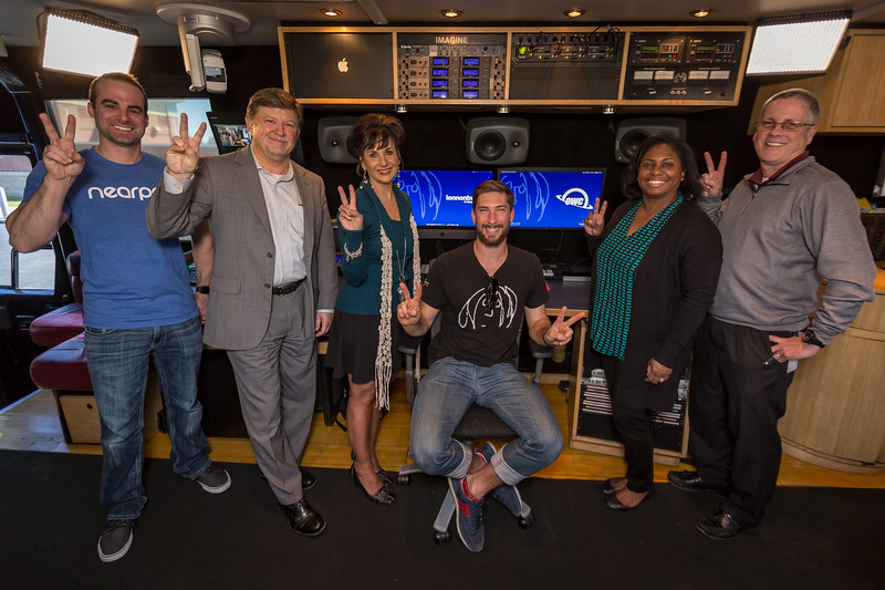 2018_03_07, Alief ISD, Austin Marek, Ava Montgomery, bus interior, Elizabeth Powell, front studio, HD Chambers, Houston, owc, Patrick Cherry, steven meloney, TX, peace signs,