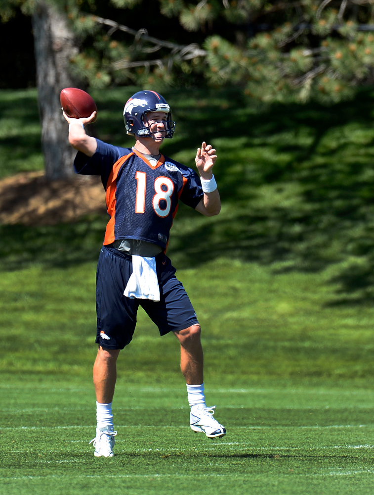 . Quarterback Peyton Manning (18) of the Denver Broncos drops back to pass during OTAs June 6, 2013 at Dove Valley. (Photo By John Leyba/The Denver Post)